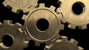 Five gold gears spinning . Black background. Alpha channel royalty free illustration