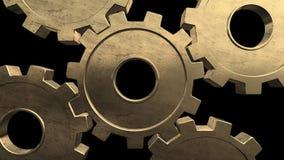 Five gold gears spinning . Black background. Alpha channel vector illustration