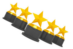 Five Gold Star Awards. 3d Rendering Stock Photography