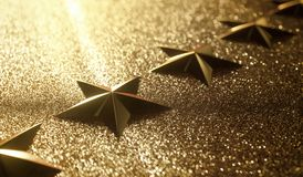 Five Gold Star Review Rank. Golden stars in high relief. Concept of good qualification. 3D rendering royalty free stock photography