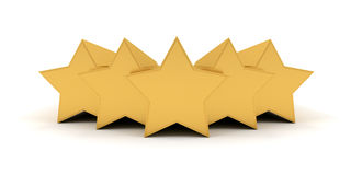 Five gold stars. Five golden stars  on white background Stock Photo