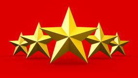 Five gold stars isolated Royalty Free Stock Image
