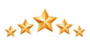 Five gold stars isolated on white background. Design elements. Vector illustration stock illustration