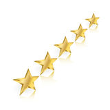 Five Gold Stars Perspective Royalty Free Stock Image