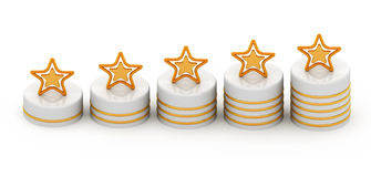 Five gold stars for ranking Royalty Free Stock Photos