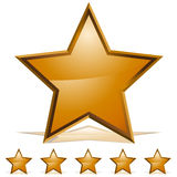 Five Gold Stars Rating Icon. An image of a five three dimensional embossed gold stars royalty free illustration