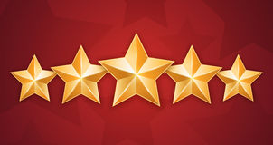 Five gold stars on red background Royalty Free Stock Photos