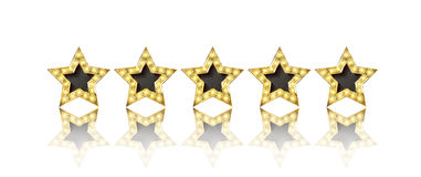 Five gold stars. With reflection on white background Stock Photos