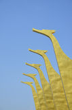 Five gold swan on roof Stock Photography