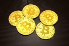 Five Golden Bitcoins Stock Photos