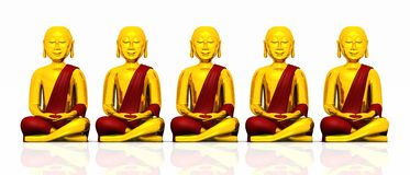 Five golden Buddhas on white - red Stock Photo