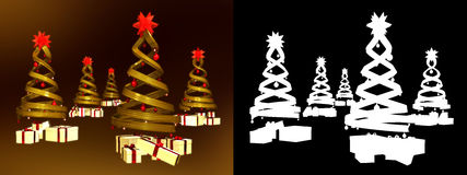Five golden design pines and many gifts Stock Image