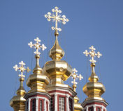 Five golden domes of the Church Stock Photography
