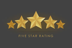 Five golden rating star  illustration in gray black background Royalty Free Stock Photo