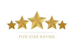 Five golden rating star  illustration in white background Royalty Free Stock Photos