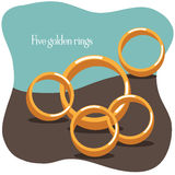 Five golden rings - Twelve Days of Christmas Royalty Free Stock Images