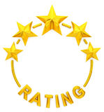 Five golden star rating. 3d rendering vector illustration