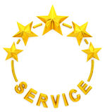 Five golden star service. 3d rendering Stock Photo