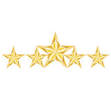 Five golden stars arrangement isolated on white Royalty Free Stock Photography