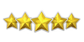 Five Golden Stars Badge Isolated Royalty Free Stock Images