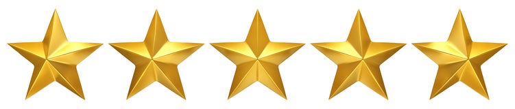 Five golden stars, best rating. 3d render Stock Photography