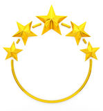 Five golden stars. 3d rendering Royalty Free Stock Photography