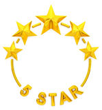 Five golden stars. 3d rendering Stock Photos