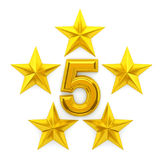 Five golden stars. 3d rendering Stock Photo