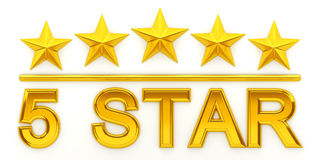 Five golden stars. 3d rendering Royalty Free Stock Photo