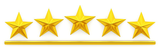 Five golden stars. 3d rendering Royalty Free Stock Photos