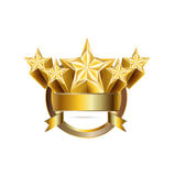 Five golden stars in emblem circle shaped isolated Stock Photography