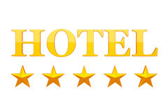 Five Golden Stars Hotel Sign. 3d Rendering. Five Golden Stars Hotel Sign on a white background. 3d Rendering Stock Image