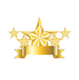 Five golden stars with ribbon icon isolated Royalty Free Stock Image
