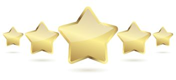 Five golden stars with shadow in a row. Vector file Royalty Free Stock Photo