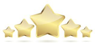 Five golden stars with shadow in a row. Vector file Stock Photo