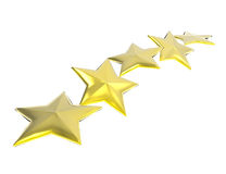 Five golden stars on white background Royalty Free Stock Images