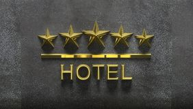 Five golden stars and word Hotel Stock Photos