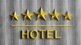 Five golden stars and word Hotel Stock Photography