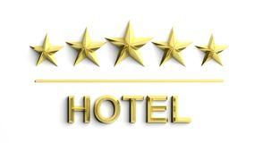 Five golden stars and word Hotel vector illustration