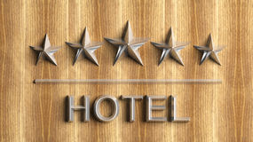 Five golden stars and word Hotel Stock Photo
