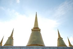 Five Golden Temple in Thailand Stock Photography