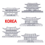 Five grand palaces of South Korea thin line symbol Stock Photography
