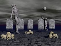 Five graves and two zombies - 3d render Stock Image