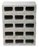Isolated Construction Blocks - Five. Five gray concrete construction blocks (a.k.a. cinder block, breeze block, cement block, foundation block, besser block Stock Photo