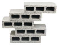 Isolated Construction Blocks - Five. Five gray concrete construction blocks (a.k.a. cinder block, breeze block, cement block, foundation block, besser block Stock Images