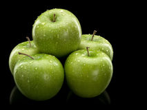 Five green apples Royalty Free Stock Photos