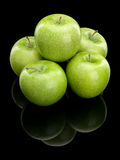 Five green apples Royalty Free Stock Images