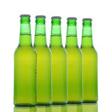 Five Green Beer Bottles Royalty Free Stock Photo