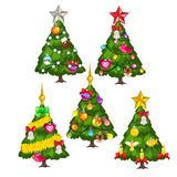 Five green Christmas trees on white background. Vector collection Royalty Free Stock Photos