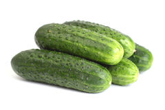 Five Green Cucumbers Royalty Free Stock Photos